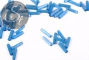 10 pcs. turquoise cylindrical cateye beads 15mm-20