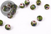 5 pcs. round green cloisonne beads 10mm-20