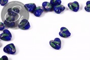 2 pcs. heart-shaped dark-blue lampwork beads 16mm-20