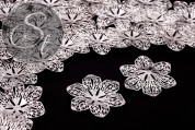 4 pcs. silver-colored filigree flower metal elements 43mm-20