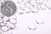 10 pcs. transparent round glass cabochons 14mm-20