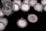 2 pcs. round antique silver-colored cabochon-settings 35mm-20