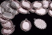 2 pcs. oval antique silver-colored cabochon-settings 39mm-20