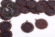 2 pcs. round copper-colored cabochon-settings 35mm-20