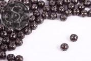 15 pcs. gunmetal-colored filigree hollow metal beads 7mm-20