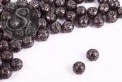 10 pcs. gunmetal-colored filigree hollow metal beads 9mm-20