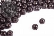 10 pcs. gunmetal-colored filigree hollow metal beads 11mm-20