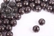5 pcs. gunmetal-colored filigree hollow metal beads 13mm-20