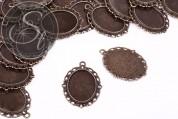 2 pcs. oval antique bronze-colored cabochon-settings 39mm-20