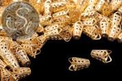 10 pcs. golden-colored bead caps 16mm-20