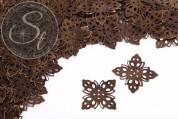 10 pcs. antique bronze-colored filigree flower metal elements 35mm-20