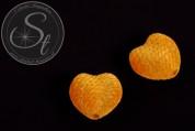 4 pcs. orange heart-shaped velvety-beads 25mm-20