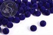 5 pcs. dark-blue velvety-beads 14mm-20