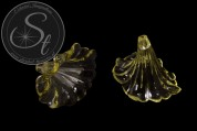 2 pcs. yellow lucite-flowers transparent 41mm-20