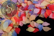 20 pcs. mixed-colors lucite-leaves frosted 17.5mm-20