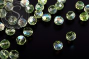 10 pcs. light-green round faceted electroplated glass beads 10mm-20