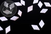 5 pcs. white rhombus-shaped shell beads 17.5mm-20