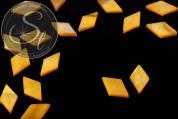5 pcs. yellow rhombus-shaped shell beads 17.5mm-20