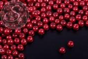 40 pcs. auburn-colored wax glass beads 6mm-20