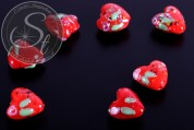 2 pcs. heart-shaped red lampwork beads 16mm-20