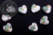 2 pcs. heart-shaped white lampwork beads 16mm-20