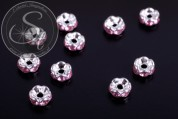 10 pcs. silver-colored bead spacers with rose rhinestones 6mm-20