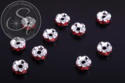 10 pcs. silver-colored bead spacers with red rhinestones 6mm-20