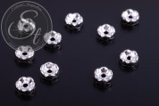 10 pcs. silver-colored bead spacers with black rhinestones 6mm-20