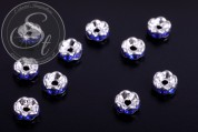10 pcs. silver-colored bead spacers with dark-blue rhinestones 6mm-20