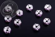 10 pcs. silver-colored bead spacers with lilac rhinestones 6mm-20