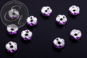 10 pcs. silver-colored bead spacers with dark-lilac rhinestones 6mm-20