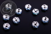 10 pcs. silver-colored bead spacers with turquoise rhinestones 6mm-20