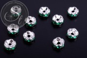 10 pcs. silver-colored bead spacers with dark-green rhinestones 6mm-20