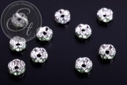 10 pcs. silver-colored bead spacers with light-green rhinestones 6mm-20