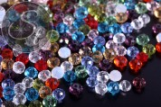 20 pcs. mixed faceted flat round glass beads 4mm-20