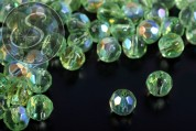 20 pcs. light-green round faceted electroplated glass beads 6mm-20