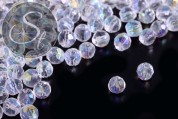 30 pcs. transparent round faceted electroplated glass beads 4mm-20