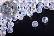 20 pcs. transparent round faceted electroplated glass beads 6mm-20