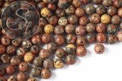 10 pcs. round red leopard-jasper beads 8mm-20
