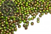 20 pcs. green/brown spray-painted drawbench glass beads 4mm-20
