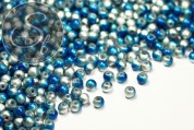 20 pcs. silver/blue spray-painted drawbench glass beads 4mm-20