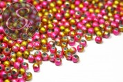 10 pcs. golden/pink spray-painted drawbench glass beads 8mm-20