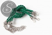 1 pc. blue-green braided imitation leather bracelet ~20cm-20