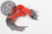1 pc. neon-orange braided imitation leather bracelet ~20cm-20