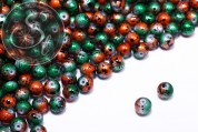 10 pcs. green/orange spray-painted drawbench glass beads 8mm-20