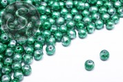 10 pcs. green spray-painted drawbench glass beads 8mm-20