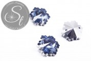 4 pcs. handmade faceted smoke blue crystal glass snowflake pendants 14mm-20