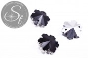 4 pcs. handmade faceted black crystal glass snowflake pendants 14mm-20