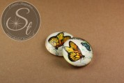 """1 pc. round """"butterfly"""" glass cabochon 16mm-20"""