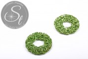 1 pc. handmade green wire ring ~30mm-20